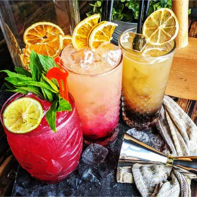 Rum, gin and cocktails at
